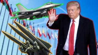 Donald Trump, a plane and some missiles in front of Nato flags