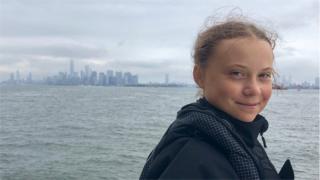 Greta Thunberg approaching Manhattan