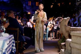 Bjorn Ulvaeus makes a cameo in his original Abba costume from 1977 at the opening night of MAMMA MIA! The Party at The O2 in London on 19 September 2019.