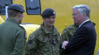 Michael Fallon speaking with armed forces on the Falklands Islands