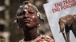A Samburu woman with a placard - Saturday 13 April 2019