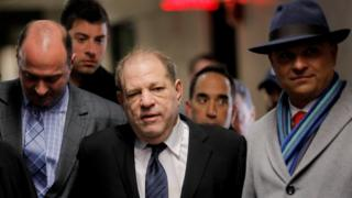 Harvey Weinstein arrives at court in New York on Wednesday
