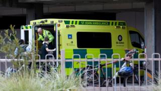 An ambulance carries wounded person to the hospital after gunmen attacked the two mosques and fired multiple times during Friday prayers in Christchurch, New Zealand on March 15, 2019