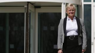 Denise Aubrey pictured outside the employment tribunal