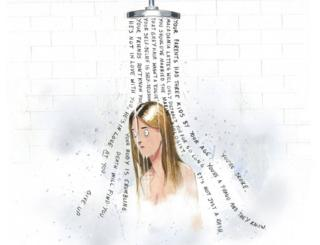 A cartoon of a woman showering in her worries