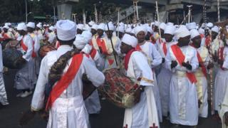People play the drums during Meskel celebrations