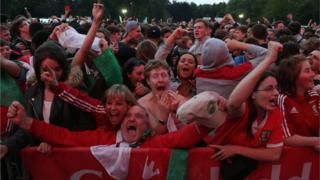 Wales fans in Cardiff fan zone