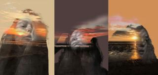 A photo montage of portraits of a young woman with sunsets in the background