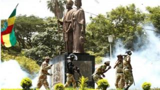 'Yan sandan kwantar da tarzomar a Ethiopia