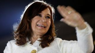 Cristina Fernández de Kirchner waves to supporters in May 2019