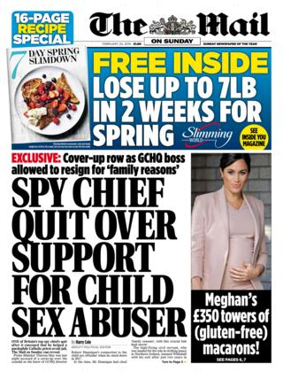 Mail on Sunday front page - 23/02/19