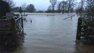 Flooding at Levens Hall
