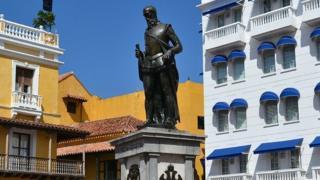 La estatua de Pedro de Heredia está en una de las plazas más céntricas de Cartagena. (Crédito de foto: Instituto de Patrimonio y Cultura de Cartagena).