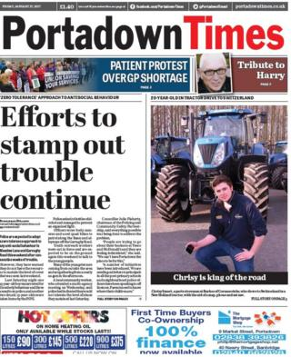 Portadown Times front page Friday 27th January 2017