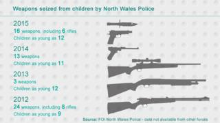 Graphic shows data: six rifles were seized from children in 2015