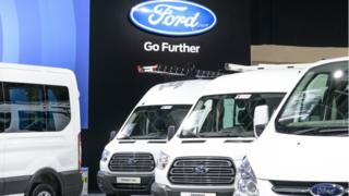 Ford range of Light Commercial Vehicles in various bod styles including the Transit Van and Transit courier on display at Brussels Expo on January 13, 2017 in Brussels, Belgium.