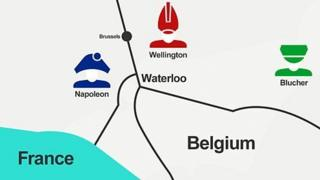 The positions of Wellington, Napoleon and the Prussians the night before the battle.