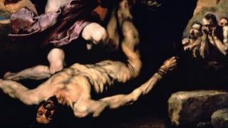 《阿波羅和馬耳敘阿斯》(1637年)表現的是裏貝拉最喜歡的主題之一:活剝人皮。