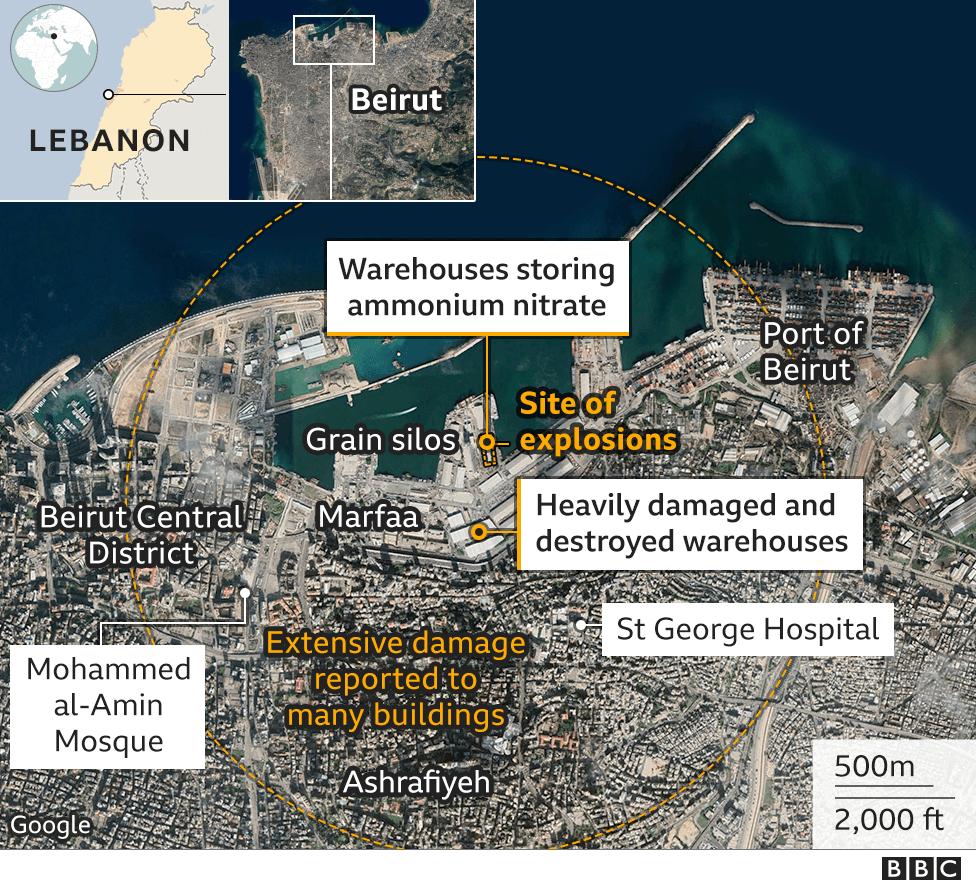 Карта с указанием места взрыва 4 августа 2020 года в Бейруте