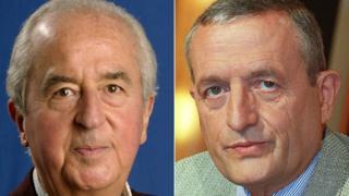 Ex-PM Edouard Balladur (L) and ex-Defence Minister François Léotard, file pics