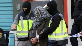 Spanish police detain one of the seven suspects in Ceuta. Photo: 7 February 2016