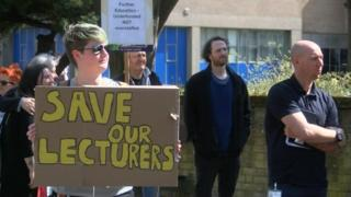 People protesting in front of Hull College