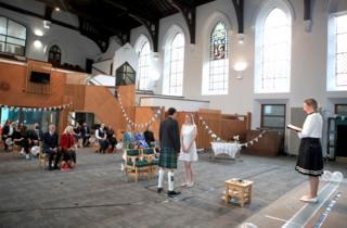 A wedding in a church hall