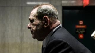 Side view as Harvey Weinstein leaves the courtroom in New York City criminal court on January 6,