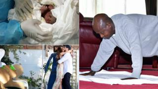 "Top left: A baby born in coronavirus isolation ward in Cameroon. Bottom left: A couple in South Africa getting ""married"" before a cardboard cut-out guests. Right: Uganda's President Yoweri Museveni doing a press-up"