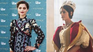 Jenna Coleman in person and in character as Queen Victoria