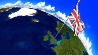 Флаг Британии на глобусе