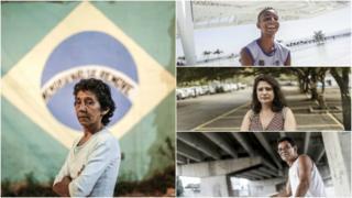 Sentido horário - Maria da Penha (foto maior), Matheus Araújo, Lia Rocha e Daniel Campos)