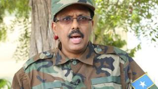 Somali president Mohamed Farmaajo with army uniform
