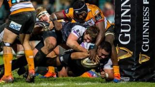 Ma'afu Fia of Ospreys crosses the line to score a try