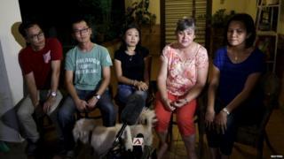 Relatives of MH370 passengers speak in Kuala Lumpur on 5 August.