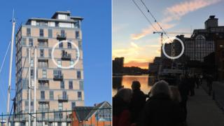 Ipswich waterfront flats with balcony circled