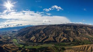 Scenic view of the mountains near Wanaka from a helicopter during the Tour of New Zealand on April 2, 2017