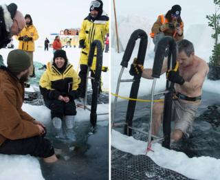 Members of the Australian Antarctic Division (AAD) at the Casey research station swim in icy waters to mark the winter solstice