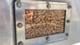 Many of the boilers, like this one, burn wood pellets