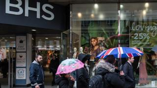 Shoppers outside BHS