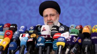 Ebrahim Raisi speaks to reporters in Tehran, Iran (21 June 2021)