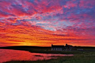 Sunset over Loch of Clumly, Orkney