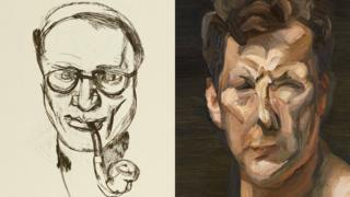 Lucian Freud drawing and self portrait