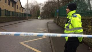 Police at the scene in Dewsbury