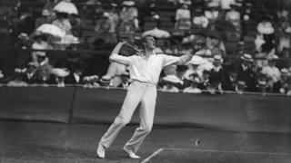 Anthony Wilding in action at Wimbledon.