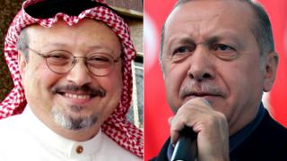 Split photos of Jamal Khashoggi and Recep Tayyip Erdogan