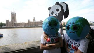 Sad earth protesters making their point in Westminster