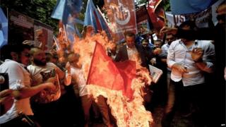 A Chinese flag is burned in Turkey