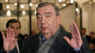 Former Russian prime minister Yevgeny Primakov, leader of the opposition Fatherland-All Russia bloc, gestures on the day of the parliamentary elections in Moscow, Russia, in this file picture taken December 19, 1999.