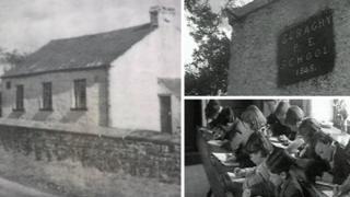 BBC archive footage grabs of the school in 1950s showing pupils and the exterior